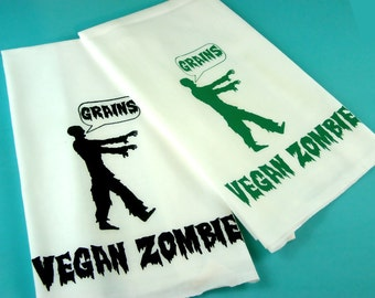 Zombie Tea Towel - Vegan Vegetarian Gift  Kitchen Towels Monster retro kitchen -Screen Print Sci Fi Zombies Veggie Love Farmers Market