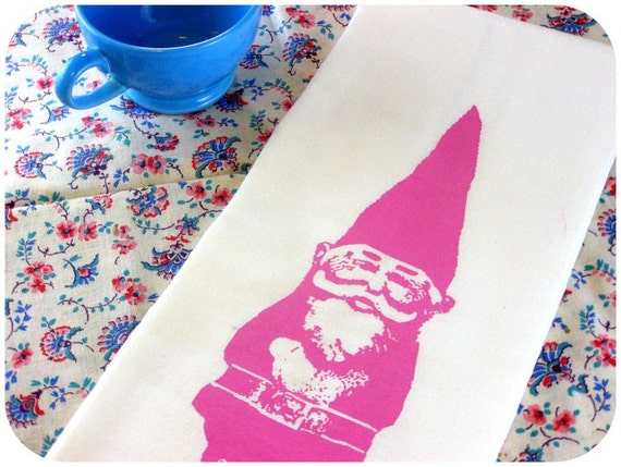 Gnome Kitchen Towel Pink Vintage Inspired Graphic Screen Print Hand Towel  Indie Housewares spring kitchen decor
