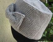 Bow Hat Grey Crochet Hat With Bow