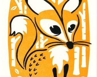 Fox - Letterpress Mini Print