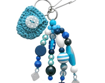 Beaded Keychain or Bag Charm, with Coin Holder (W-BKC-009), blue keychain, women accessory, teen accessory