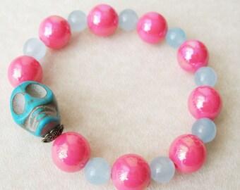 Halloween Skull Bracelet Pink and Blue Turquoise Stretch Bracelet Skeleton Jewelry