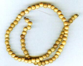 "6mm Unique Nangka Wood Round Wood Beads 16"" Strand"