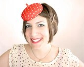 Red and White Polkadot Button Fascinator Hat // Mini Cocktail Hat // Inspired by who else but Mario