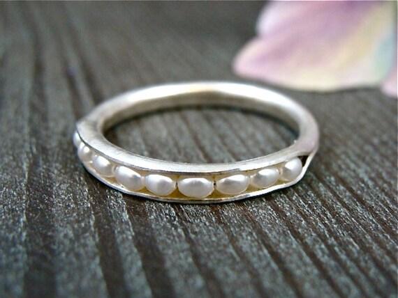 petite pearl stack ring