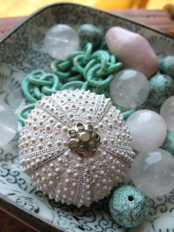 Reserved for Kari - Sea Urchin Bead Pendant with Patina Chain, Beads, Rose Quartz and Ceramic Bead Mix