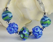 Lampwork Glass Bead Set  Handmade  in Blue and Green SRA