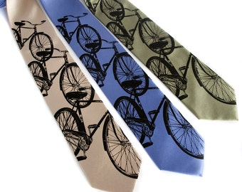 "Bike tie, ""Triple Cruiser"" bicycle men's necktie. Classic cycling print. Silkscreened microfiber. Standard or narrow."