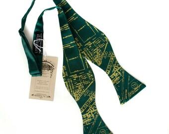 Eastern Market bow tie. Detroit Map tie. Pea screenprint on emerald green. Freestyle. Adjustable.