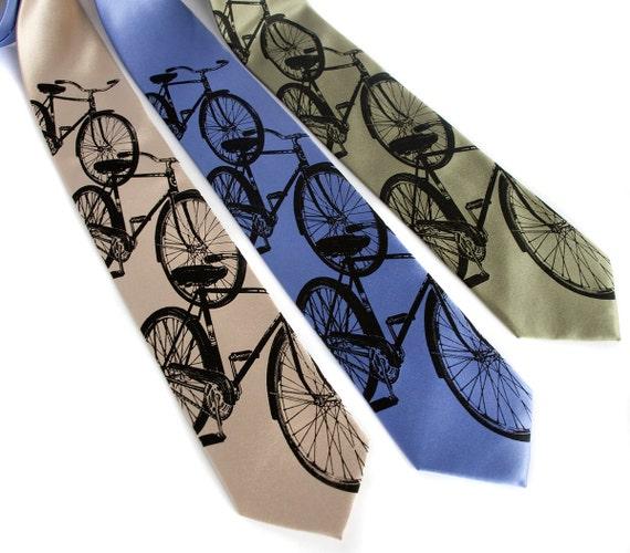 "Bike tie, ""Triple Cruiser"" bicycle men's necktie. Classic cycling print. Silkscreened microfiber. Standard or narrow."