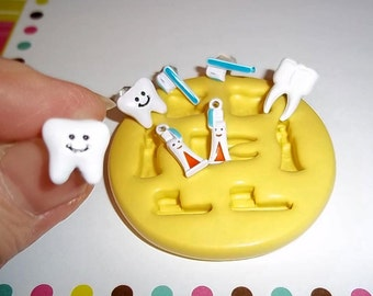 Dentist Tooth Teeth Flexible Mold Mould For Resin Paper Clay Sculpey Fimo Polymer Fondant Wax Chocolate Food Safe  M509