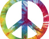 Tie Dye Peace Sign Decal Sticker 4 inches in diameter