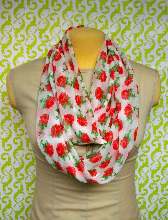 sheer white, rose print mesh stretch jersey knit, infinity, Eternity, Cowl, Circular, loop scarf