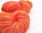 Orange sock yarn, hand-dyed merino silk, 4ply 4-ply fingering wool, Blaze, tangerine carrot pumpkin yellow amber, neon, Perran Yarns