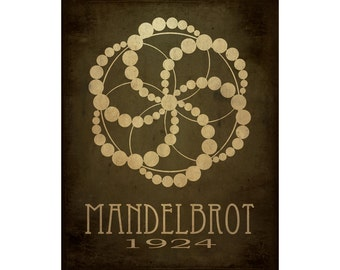 16x20 Mandelbrot Art Print - Fractal Geometry Minimalist Design, Rock Star Scientist Poster, Science Decor, Math Diagram, STEM Artwork