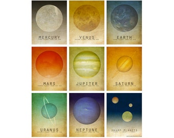 Nine 5x7 Solar System Prints Astronomy Space Art Planets Universe Milky Way Galaxy Stars Moon Geek Chic Nerd Science Posters Earth Mars