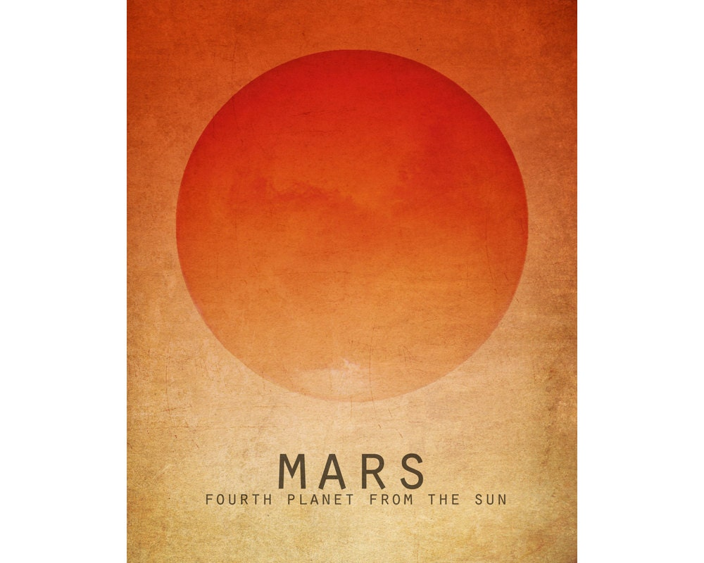 8x10 Mars Astronomy Print Solar System Space Art Planet