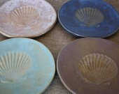 Handmade Dishes Handmade Pottery Wedding Gift Tapas Dishes Appetizer Dishes Dessert Plate Seashell Nautical Dishes Beach Decor MADE TO ORDER