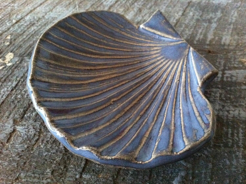 Handmade Ceramic Seashell Catch All Bowl Jewelry Holder Soap