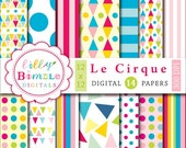 Circus digital papers with geometric, polka dots, bright colors Le Cirque paper kids INSTANT Download
