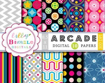 60% off Retro Disco Arcade Papers for digital scrapbooking, cards, backgrounds, printable 8.5x11 300 dpi Download