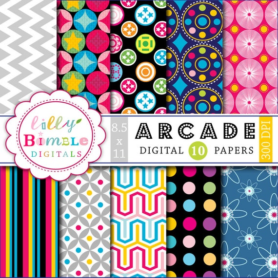 50% off Retro Disco Arcade Papers for digital scrapbooking, cards, backgrounds, printable 8.5x11 300 dpi Download