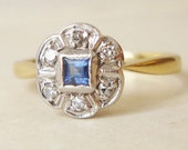 Antique Sapphire and Diamond Flower Ring, Art Deco Sapphire 18k Gold Diamond Wedding Engagement Ring, Approximately Size US 6.5/6.75