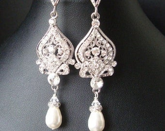 Vintage Bridal Earrings, Chandelier Wedding Earrings, Art Deco Bridal Jewelry, Pearl Wedding Jewelry, JACQUELINE