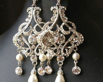 Chandelier Wedding Bridal Earrings, Vintage Style Statement Wedding Earrings, Crystal Chandelier Earrings, ALESSANDRA