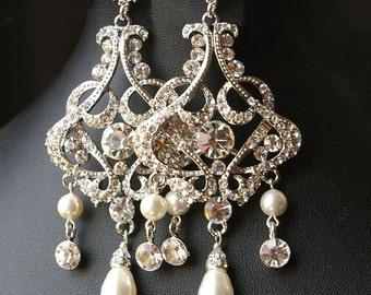 Chandelier Wedding Bridal Earrings, Vintage Style Statement Wedding Earrings, Crystal Chandelier Earrings, ALESSANDRA