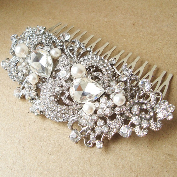 Vintage Style Bridal Hair Comb, Victorian Art Deco Rhinestone Wedding Hair Comb, Wedding Bridal Hair Accessories, Bridal Comb, CLARICE