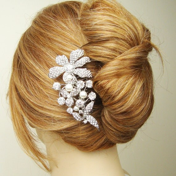 Vintage Style Bridal Hair Accessories, Wedding Hair Comb, Crystal Bridal Hair Comb, French Twist Wedding Comb, Pearl Comb Side Tiara, ELAINE