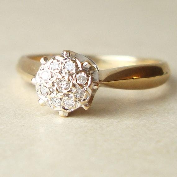Vintage Diamond Engagement Ring 9k Gold Diamond Cluster Ring