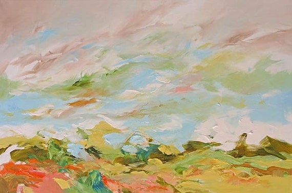 Abstract Painting Original Landscape Fauve Impressionist Surreal Dreamy A Bit of Heaven by Linda Monfort