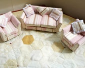 12th Scale Dolls House Miniature Regency Stripe Hand Upholstered Three Piece Suite with Matching Lace Edged Cushions