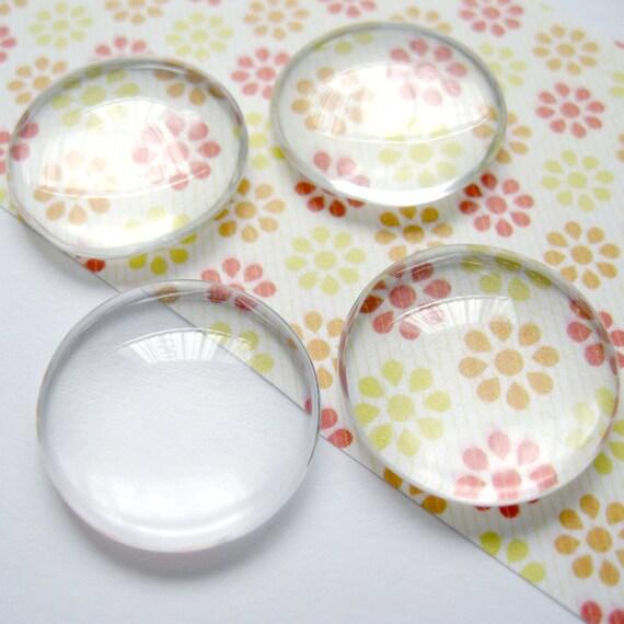6pcs Transparent Glass Cabochons, Circle, 25mm