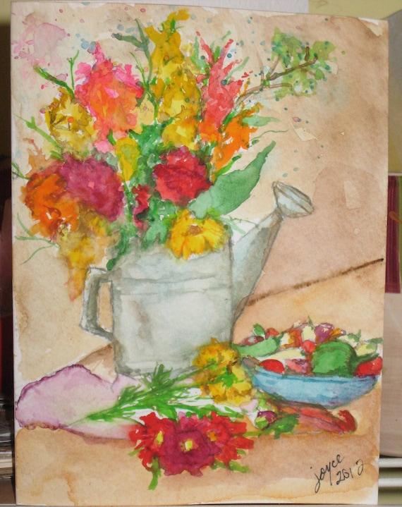 Handpainted Original Watercolor Painting Blank Greeting Card 5 x 7 Summer Flowers & Peppers