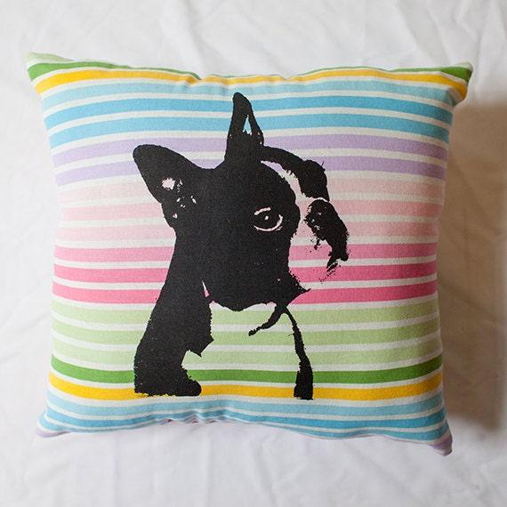 Boston Terrier pillow, colorful striped pillow, dog portrait, dog art, screen print, silkscreen
