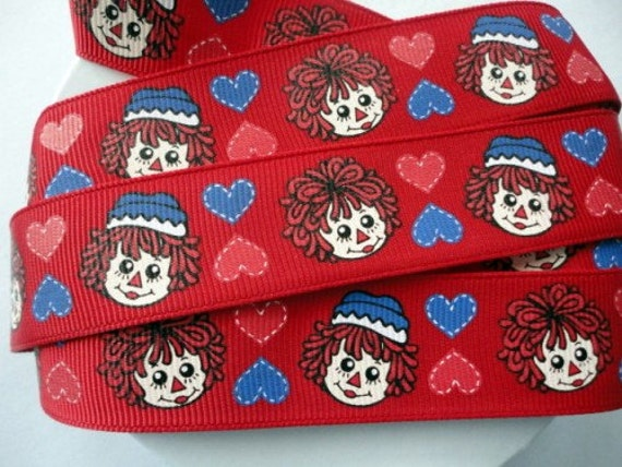 "7/8"" Raggedy Ann and Andy grosgrain ribbon LAST 3 yards"