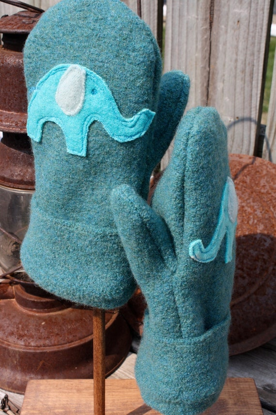 Upcycled Felted Wool Mittens- Ellie Elephant