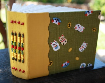 MANEKI NEKO (Fortune Cat) watercolor paper filled Blank Art Journal Gold Beaded Leather and Moss Green Fabric