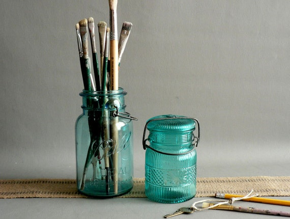 Turquoise Blue Canning Jars, Collection of Two