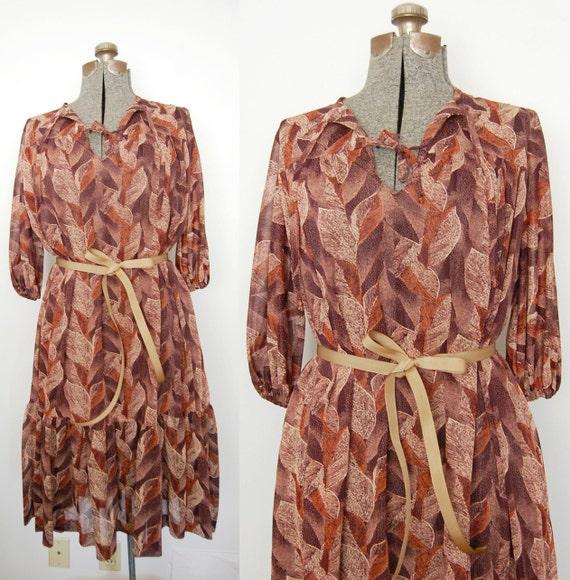 Vintage 1960s Dress / Sheer Burnt Sienna Gauze Dress (Size S-XL)