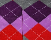 Leg Warmers  - free shipping - grey purple and red argyle