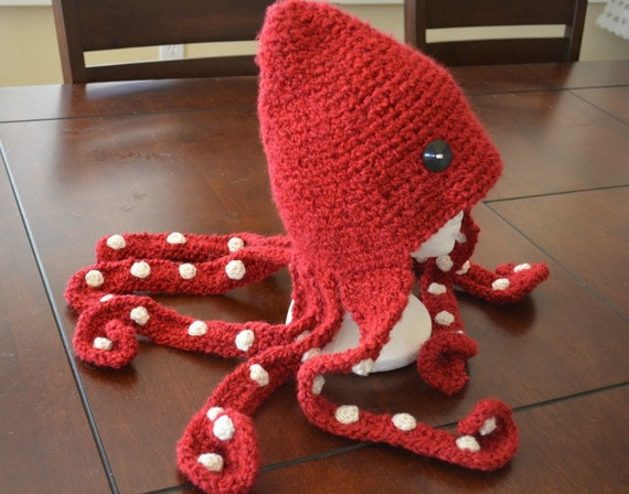 Crochet Octopus Hat : Crimson Red Octopus Hat Crochet Etsy