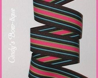 Bermuda Hot Turquoise Pink Brown Lime Green Grosgrain Ribbon Stripes 5 y 1 1/2 w cbonefive