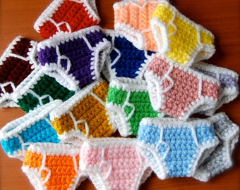 SET OF 4 Rainbow Briefs - Miniature Crochet Underpants
