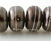 BRONZE BEAUTY with Fine Silver Wraps - Handmade Lampwork Glass Bead Set - taneres