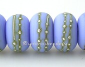 Handmade Lampwork Glass Beads PERIWINKLE BLUE matte with fine SILVER Droplets - taneres
