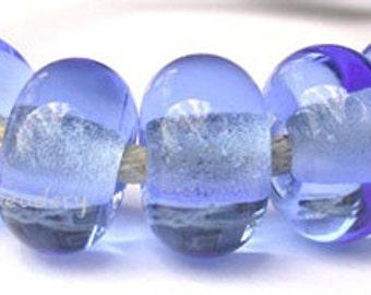 5 Lampwork Spacer Glass Beads LIGHT BLUE Glossy & Matte transparent Handmade Donut Rondelle